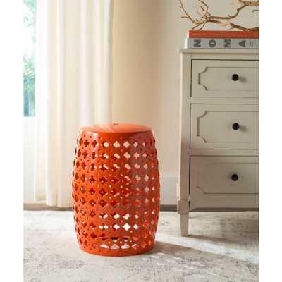 Safavieh Lacey Orange Patio Stool - Home Depot