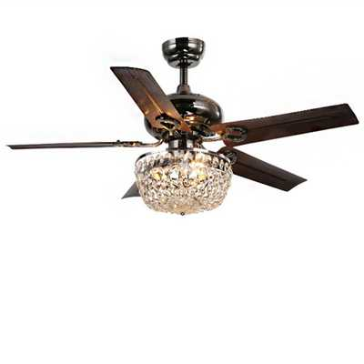 Warehouse of Tiffany Angel 43 in. Indoor Bronze 5-Blade Crystal Chandelier Ceiling Fan with Light Kit - Home Depot