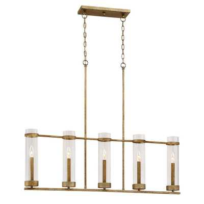 Millennium Lighting Milan Collection 5-Light Vintage Gold Island Light with Clear Glass - Home Depot