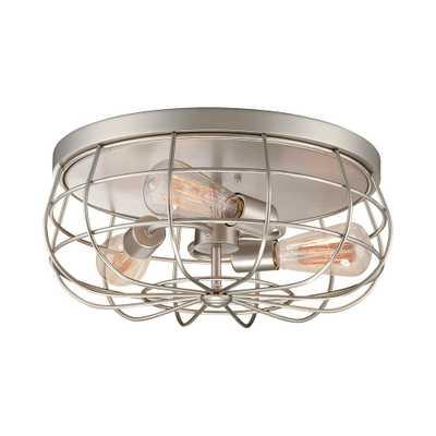 Millennium Lighting Neo-Industrial 3-Light 15.5 in Satin Nickel Flush Mount Ceiling Fixture - Home Depot