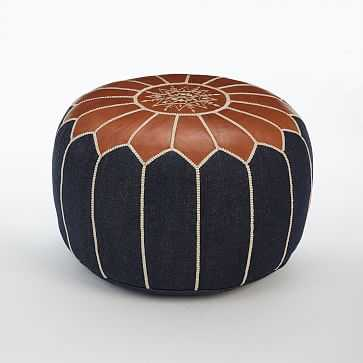 "Moroccan Pouf, Denim, 20""x14"" - West Elm"