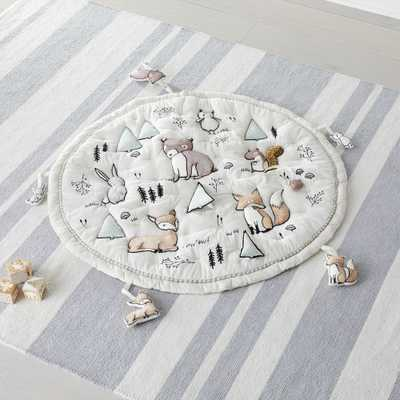 Woodland Animals Baby Activity Mat with Animal Rattles, Set of 5 - Crate and Barrel