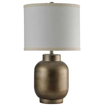 StyleCraft 33.8 in. Hema Gold Table Lamp with White Hardback Fabric Shade - Home Depot