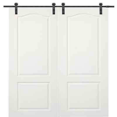 Milliken Millwork 72 in. x 80 in. Composite Primed Princeton Smooth Surface Solid Core Double Door with Barn Door Hardware Kit - Home Depot