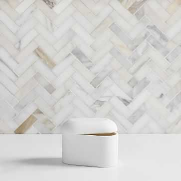 Modern Resin Stone Large Container, White - West Elm