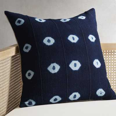 """23"""" Indigo Dots Mudcloth Pillow with Feather-Down Insert"" - CB2"