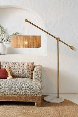 Topanga Jute Floor Lamp,Antique Brass - Anthropologie