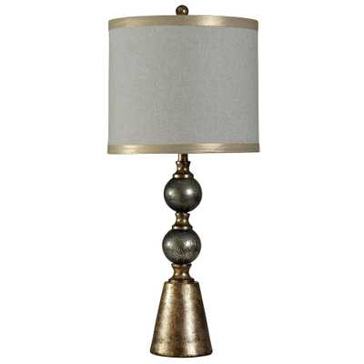 StyleCraft 35 in. Black and Gold Table Lamp with White Hardback Fabric Shade - Home Depot