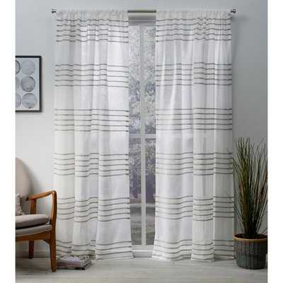 Winterbourne Down Striped Sheer Rod Pocket 2 Curtains / Drapes - Birch Lane