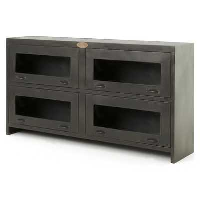 Fergie Industrial Antique Iron Shop Media Cabinet - Kathy Kuo Home