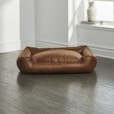 Lounge Faux Leather Vintage Large Dog Bed - Crate and Barrel