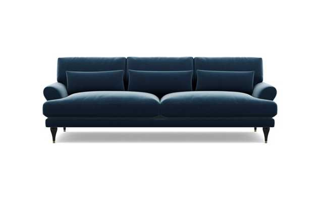 Maxwell Sofa with Blue Sapphire Fabric and Matte Black with Brass Cap legs - Interior Define