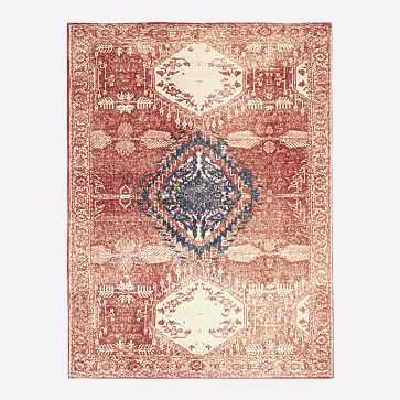 Distressed Medallion Rug, Cayenne/Midnight, 8'x10' - West Elm