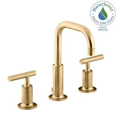 KOHLER Purist 8 in. Widespread 2-Handle Mid-Arc Water-Saving Bathroom Faucet in Vibrant Modern Brushed Gold - Home Depot