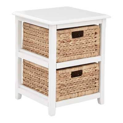 OSP Designs Seabrook White 2-Tier Storage Unit with Natural Baskets, White Wood Finish - Home Depot