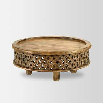 Carved Wood Coffee Table, Raw Mango - West Elm