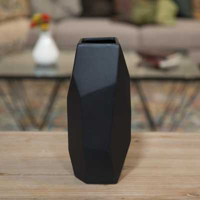 Black Matte Ceramic Decorative Vase - Home Depot