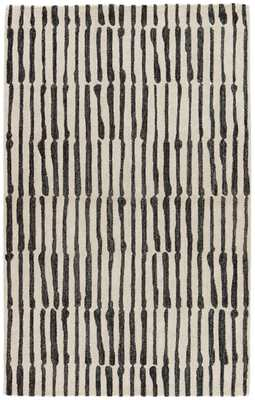 Nikki Chu by Saville Handmade Abstract White/ Black Area Rug (2' X 3') - Collective Weavers