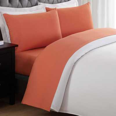 Pem America Anytime Orange Full Sheet Set - Home Depot