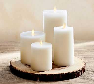 Premium Flicker Flameless Wax Candle, White - Mix set of 4 - 3X3, 3X6, 4X4.5, 4X8 - Pottery Barn