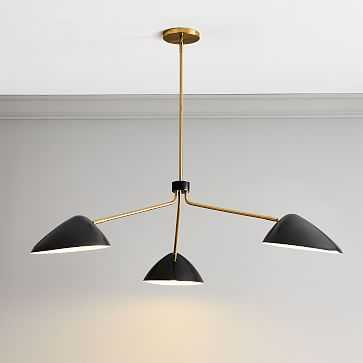 Curvilinear Mid-Century Chandelier, 3 Light, Dark Bronze, Antique Brass - West Elm