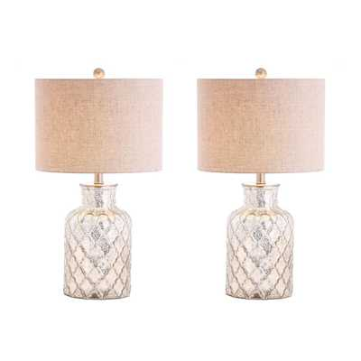 JONATHAN Y Alvord 24.5 in. Silver LED Glass Table Lamp (Set of 2) - Home Depot