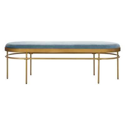 Safavieh Sylva Slate Blue/Gold Bench - Home Depot