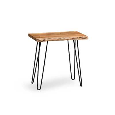 Hairpin Live Edge Brown and Black Natural Wood End Table, Brown/Black - Home Depot