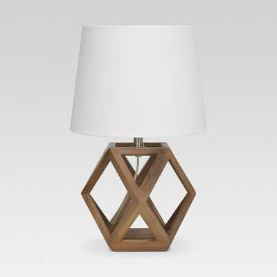 Geometric Wood Figural Accent Lamp Brown Lamp Only - Threshold - Target