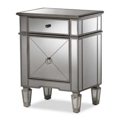Claudia Hollywood Regency Glamour Style Mirrored Nightstand - Baxton Studio, Shiney Silver - Target