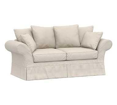 "Charleston Slipcovered Sofa 86"", Polyester Wrapped Cushions, Raw Slub Cotton Oatmeal - Pottery Barn"