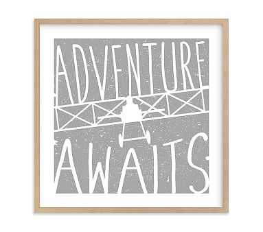 Adventure Awaits Vintage Airplane Wall Art by Minted(R), 24x24, Natural - Pottery Barn Kids