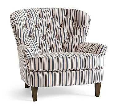 Cardiff Upholstered Tufted Armchair with Pewter Nailheads, Polyester Wrapped Cushions, Antique Stripe Blue - Pottery Barn