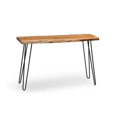 Hairpin Live Edge Brown and Black Natural Wood with Metal 48 in. Media Console Table, Brown/Black - Home Depot