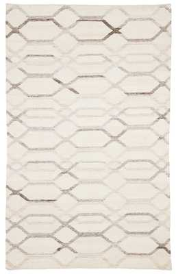 Laveer Handmade Trellis Ivory/ Light Gray Area Rug (9'X12') - Collective Weavers