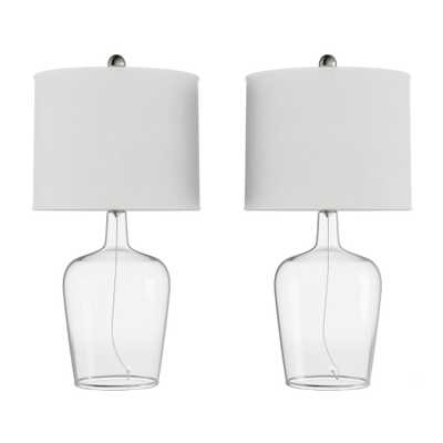 Lavish Home 26 in. Ivory Modern Cloche Style Glass LED Table Lamps (Set of 2) - Home Depot