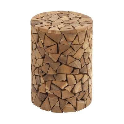 Mahogany Brown Teak Log Round Stool Accent Table - Home Depot