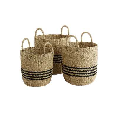 Design Ideas Scarborough Tan and Black Striped Palm Leaf and Seagrass Baskets (Set of 3) - Home Depot