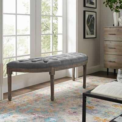 Ryley Esteem Vintage French Upholstered Fabric Semi-Circle Bench - Wayfair