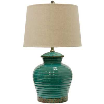 Turquoise Ceramic Table Lamp with Beige Hardback Linen Shade Includes Light Bulb - Target