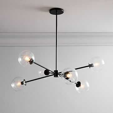 Staggered Glass Burst Chandelier , Clear/Bronze-With Bulbs - West Elm