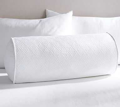 """Reeve Matelasse Organic Daybed Bolster, 12x25"""", White - Pottery Barn"""
