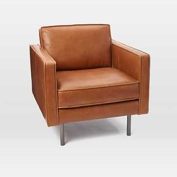 Axel Armchair Leather, Saddle - West Elm