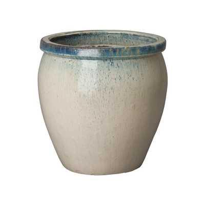 Emissary 19 in. Dia Round Distressed White Ceramic Planter - Home Depot