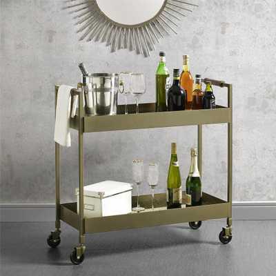 Vista Brass Finish Bar Cart - Home Depot