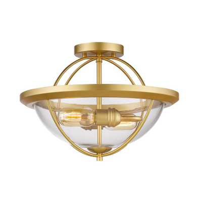 Filament Design Privet 2-Light Satin Gold Semi-Flushmount with Clear Shade - Home Depot