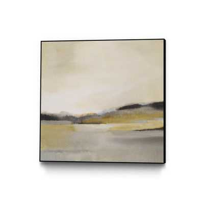 "CLICART 30 in. x 30 in. ""Morning Beach"" by Alison Jerry Framed Wall Art, Yellow - Home Depot"