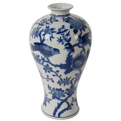 Ren 7 in. x 13 in. Blue and White Decorative Vase, Multi - Home Depot