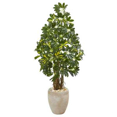 Nearly Natural Indoor 4.5-Ft. Schefflera Artificial Tree in Sand Colored Planter - Home Depot