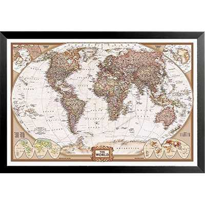 'National Geographic Map Executive Style' Rectangle Framed Print - Wayfair